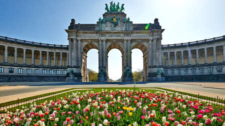 Brussels, Belgium - April 07, 2020: The Cinquantenaire monument at Brussels without any people during the confinement period.