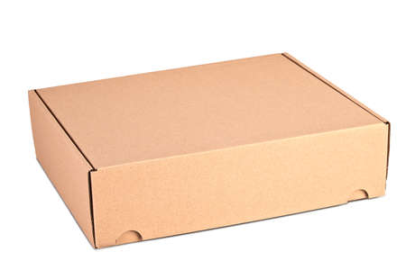 Closed card delivery Box ready for shipping isolated on white