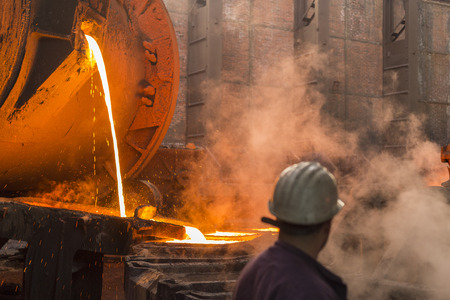 Copper smelting industry complex in process of making copper plates out of copper ore