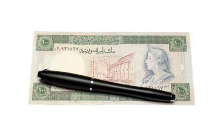 collectibles: collectibles Banknotes with pen Stock Photo