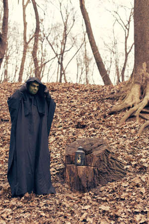 sinner: the green witch in the autumn forest Stock Photo