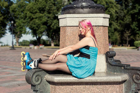 hair roller: Pretty girl with pink hair Stock Photo