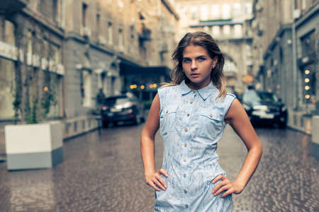 Walk with a girl in urban landscapes