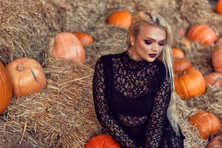 Halloween location with a young blonde 스톡 콘텐츠 - 132821315