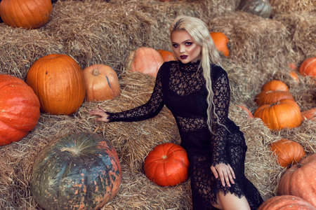 Halloween location with a young blonde 스톡 콘텐츠 - 132821317