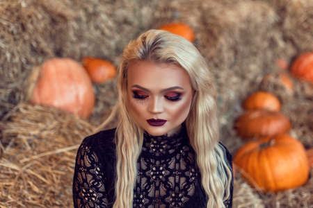 Halloween location with a young blonde 스톡 콘텐츠 - 132821324