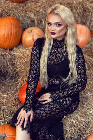 Halloween location with a young blonde