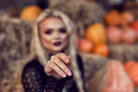 Halloween location with a young blonde 스톡 콘텐츠 - 132821329