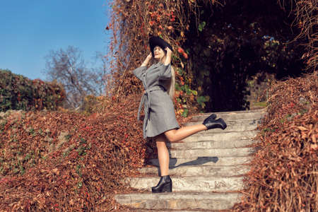 Autumn walk in the park with a cute blonde 스톡 콘텐츠 - 133463818