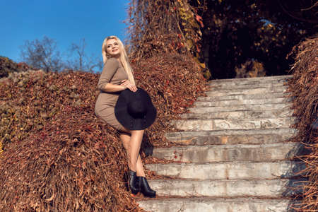 Autumn walk in the park with a cute blonde 스톡 콘텐츠 - 133463828
