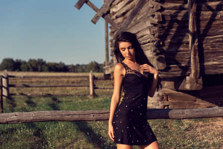 Photoshoot with a brunette in an old village