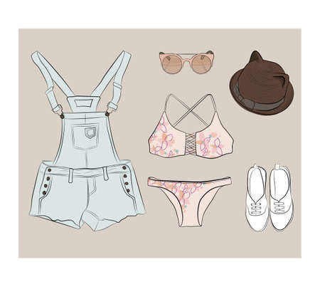 overalls: Summer outfit in pastel colors with overalls , bikini , shoes, sunglasses and hat cat