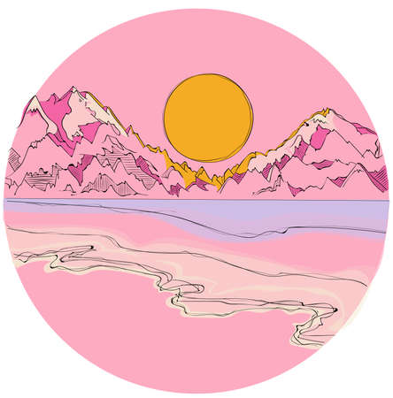 yellow hills: Mountain landscape in summer with a lagoon during sunset in pink, violet and blue