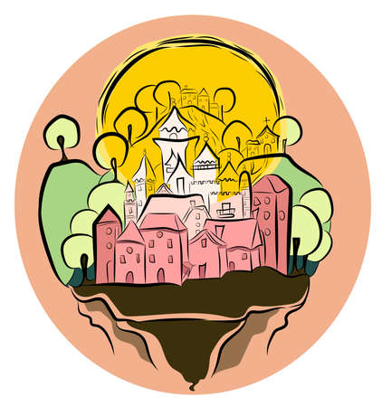 turret: Girls drawing of a floating castle princess with her village , a sun, mountains and trees