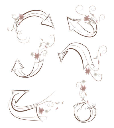 flowery: Arrows in autumn colors with flowery decoration and curls