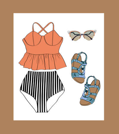 two piece swimsuits: Lovely retro summer outfit set, orange, black and white.