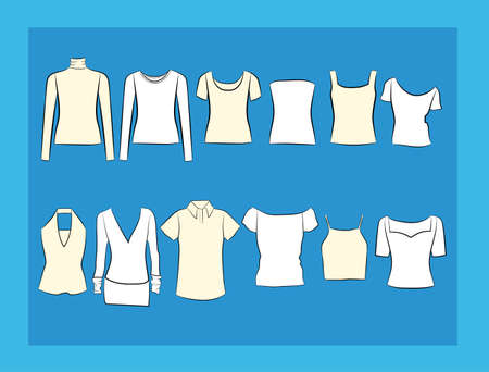 strapless: Set of clothes icons. Female cloth collection, vector illustration. Illustration