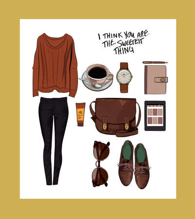 Vector stylish fashion set of womans clothes and accessories. Earth colors outfit with sweater, pants and wingtips
