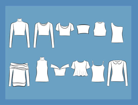 halterneck: Set of clothes icons. Female cloth collection, vector illustration. Illustration