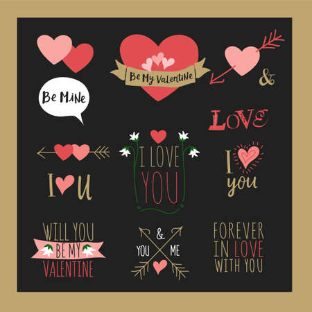 valentineday: Happy valentines day and weeding design elements. Vector illustration. Typographical Background With Ornaments, Hearts, Ribbon and Arrow. Doodles and curls. Illustration