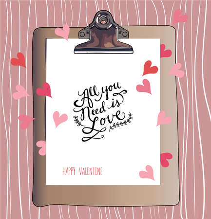 valentineday: All you need is Love. Happy Valentines Day. Hand lettering. Handmade calligraphy, vector. Greeting card. Happy Valentines Day message. Illustration