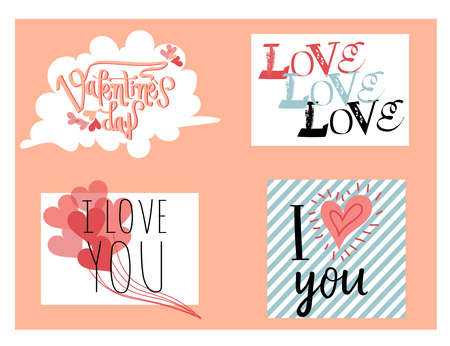 valentineday: Happy Valentines Day. Hand lettering in pastel colors. Handmade calligraphy, vector. Greeting card. Happy Valentines Day message.