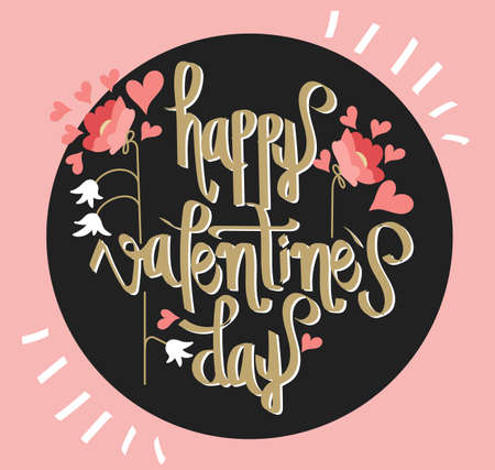 valentineday: Happy Valentines Day. Hand lettering. Handmade calligraphy, vector. Greeting card. Happy Valentines Day message.
