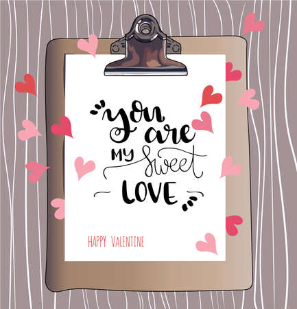 valentineday: You are my sweet love. Happy Valentines Day. Hand lettering. Handmade calligraphy, vector. Greeting card. Happy Valentines Day message.
