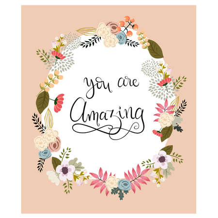 valentineday: You are amazing. Happy Valentines Day. Hand lettering. Handmade calligraphy, vector. Greeting card. Happy Valentines Day message.