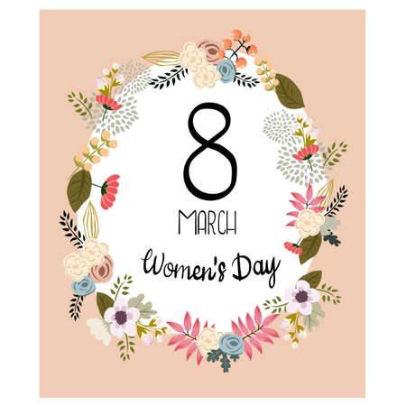 wallpaper International Women s Day: Beautiful flowers decorated greeting card design for Happy Womens Day celebration