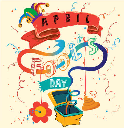 Happy April Fools Day. Lettering in the box toy, springing out of a box. Çizim