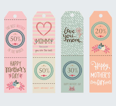 diferent: four diferent coupons in pastel colors for mothers day.