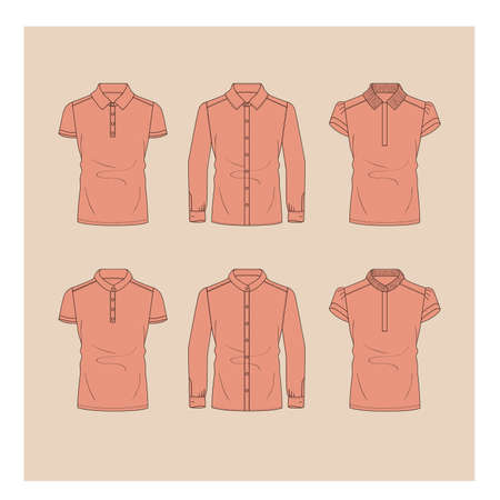 Detailed illustration set of shirts and polo in pink for women. Illustration