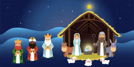 Illustration of Christmas concept of the birth of Jesus Christ with Joseph and Mary accompanied by the three wise men.