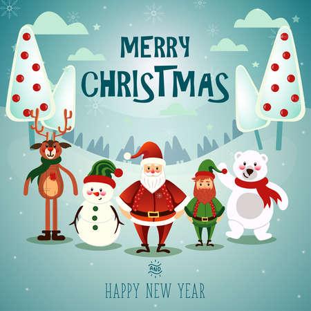 Christmas snow scene vector illustraion. Vettoriali