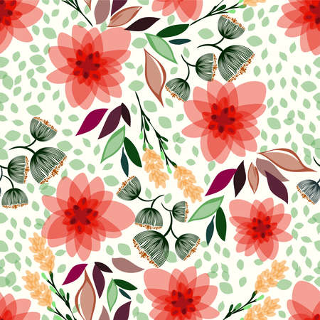 Beautiful pattern with small abstract flowers, leaves and branches, seamless texture can be used for wallpapers, pattern fills, surface textures. Illustration