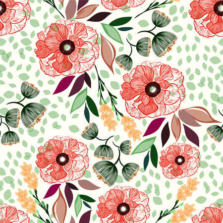 Floral pattern spring-summer with beautiful red flowers and colorful leaves, texture can be used for textiles, fabrics, covers, wallpaper, print, gift wrapping, postcard.