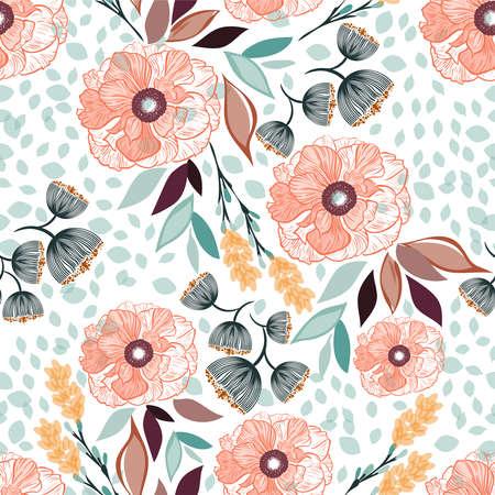 El estampado de flores inconsútil del vector primavera-verano con las flores anaranjadas hermosas y las hojas coloridas, textura se puede utilizar para las materias textiles, telas, cubiertas, papel pintado, impresión, envoltorio para regalos, postal.