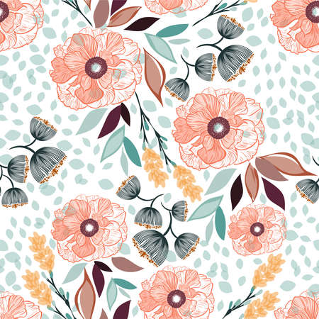 Seamless vector floral pattern spring-summer with beautiful orange flowers and colorful leaves, texture can be used for textiles, fabrics, covers, wallpaper, print, gift wrapping, postcard.