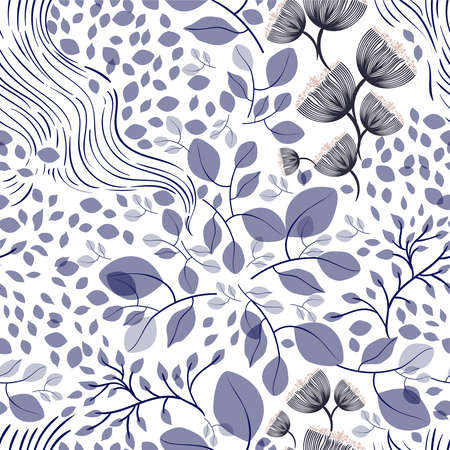 Seamless vector floral pattern, spring-summer with hand drawn surface pattern design with dark blue flowers, texture can be used for textiles, fabrics, covers, wallpaper, print, gift wrapping.