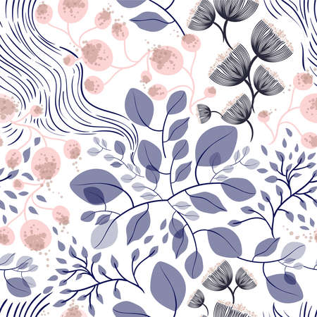 Seamless vector floral pattern spring-summer with hand drawn pattern design with blue and pink flowers in garden, texture can be used for textiles, fabrics, covers, wallpaper, print, gift wrapping. Stok Fotoğraf - 92935401