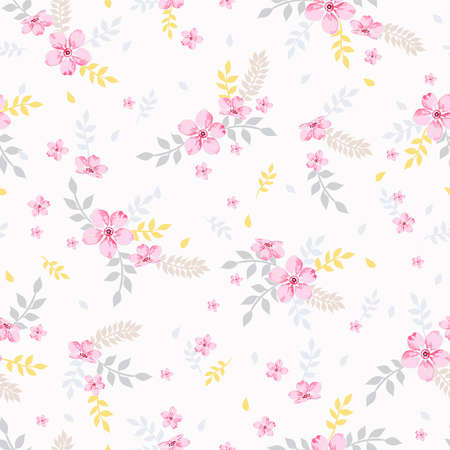 Seamless vector floral pattern spring-summer with hand drawn design with small pink flowers and colorful leaves, texture can be used for textiles, fabrics, covers, wallpaper, print, gift wrapping.