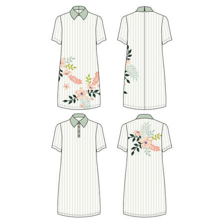 Technical drawing with color vector illustration of tunic cut dress and pollo dress with short sleeve and classic shirt neck.
