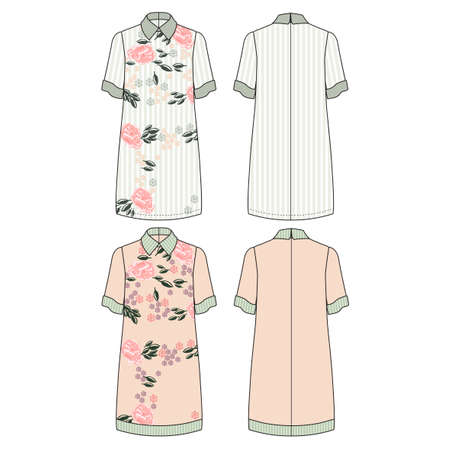 Technical drawing with color vector illustration of straight cut dress with low short sleeve and classic shirt neck.