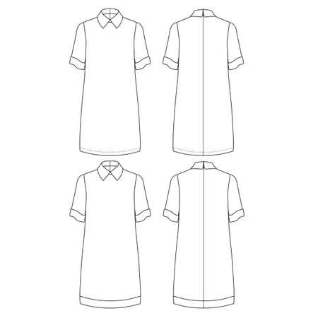 Technical drawing skectch vector illustration of straight cut dress with low short sleeve and classic shirt neck.