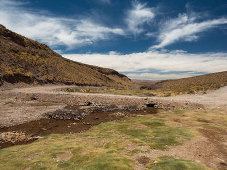 Bolivian highlands green valley Stock Photo
