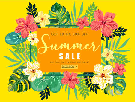 Summer Sale tropical Banner Background. Illustration