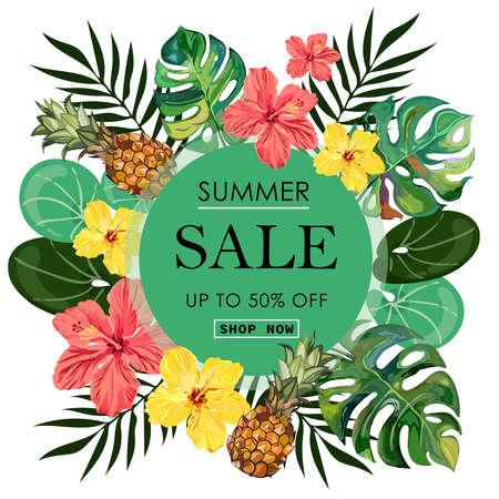Summer Sale tropical Banner Background. Illustration
