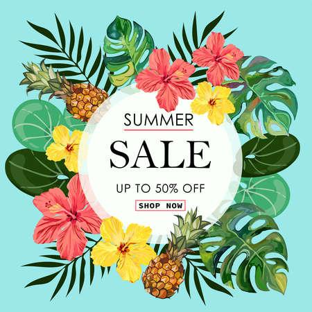 Summer Sale tropical Banner Background.  イラスト・ベクター素材