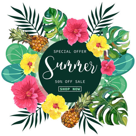 Summer Sale tropical Banner Background. Reklamní fotografie - 97032882